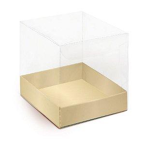 Caixa para Panetone 500g G 14,4x14,4x12cm Liso Ouro - 10 unidades - Cromus Natal - Rizzo Embalagens