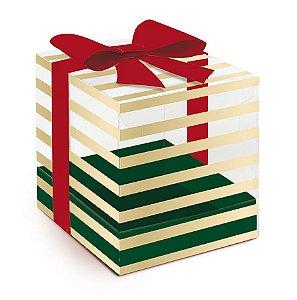 Caixa para Panetone 500g G 14,4x14,4x16cm Sofisticação - 10 unidades - Cromus Natal - Rizzo Embalagens