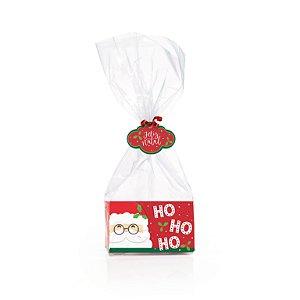 Kit Fundo Retangular Ho Ho Ho 8,5x4,5x5cm - 10 unidades - Cromus Natal - Rizzo Embalagens