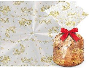 Saco para Panetone de Natal Festa do Panetone Ouro - Cromus - Rizzo Embalagens e Festas