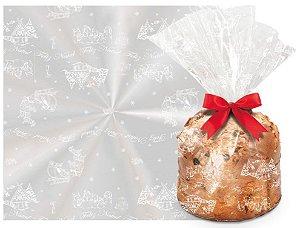 Saco para Panetone de Natal Festa do Panetone Branco - Cromus - Rizzo Embalagens e Festas
