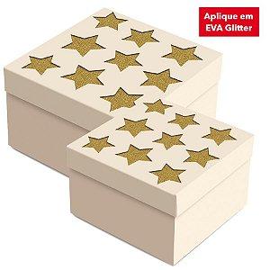 Caixa Presente  Quadrada com Aplique Estrela - 01 unidade - Cromus Natal - Rizzo Embalagens