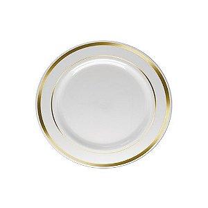 Prato Sobremesa Pequeno Borda Ouro 15cm - 06 unidades - Descartáveis de Luxo SilverPlastic - Rizzo Festas