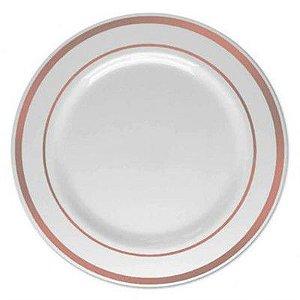 Prato Sobremesa Pequeno Borda Rosê Gold 15cm - 06 unidades - Descartáveis de Luxo SilverPlastic - Rizzo Festas