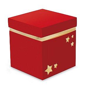 Caixa Cubo para Panetone 500g 14,5x14,5x16cm Vermelho e Ouro - 01 unidade - Cromus Natal - Rizzo Embalagens