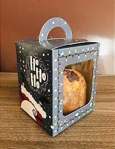 Caixa Mini Panetone Feliz Natal Ho Ho Ho Ref. 1187 - 03 unidades - Erika Melkot Rizzo Embalagens