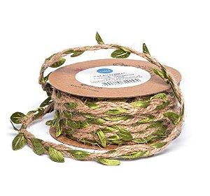 Cordão de Sisal com Folhas Verdes - 03 metros - Luli - Rizzo Embalagens