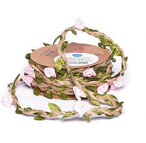 Cordão de Sisal com Folhas Verdes E Rosas - 03 metros - Luli - Rizzo Embalagens