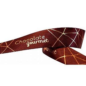 Fita de Páscoa em Cetim 22mmx10m Chocolate Gourmet Marrom com Ouro ECF005H 702 Progresso Rizzo Embalagens