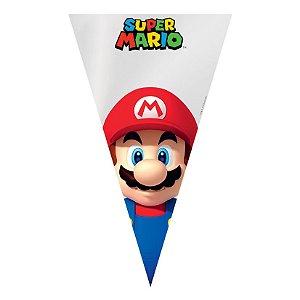 Cone Festa Super Mario 18x30cm - 50 unidades - Cromus Páscoa Disney - Rizzo Embalagens