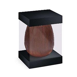 Caixa para Ovo em Pé com Visor e Berço 500g Preto - 10 unidades - 13,5x13,5x18,5cm - Cromus Profissional - Rizzo Embalag