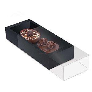 Caixa Luva para Dois Meio Ovos Páscoa Preto - 10 unidades - 18,5x7,5x3,5cm - Cromus Profissional - Rizzo Embalagens