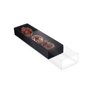 Caixa Luva para Três Meio Ovos 50g Páscoa Preto - 10 unidades - 26,5x7,5x3,5cm - Cromus Profissional - Rizzo Embalagens