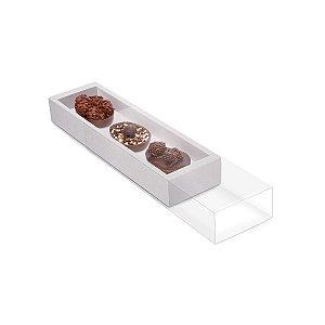 Caixa Luva para Três Meio Ovos Páscoa Branco - 10 unidades - 26,5x7,5x3,5cm - Cromus Profissional - Rizzo Embalagens