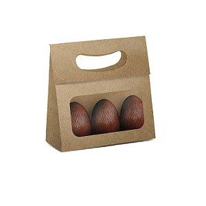 Mini Caixa Plus para Ovos com Visor Páscoa Kraft - 10 unidades - 13x5,5x13cm - Cromus Profissional - Rizzo Embalagens