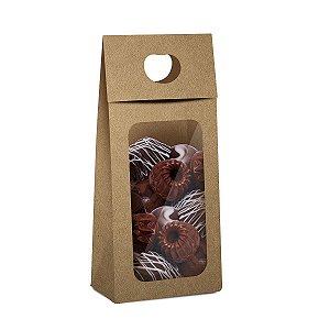 Caixa New Plus para Chocolate com Visor Páscoa Kraft - 10 unidades - 9x5,5x20cm - Cromus Profissional - Rizzo Embalagens