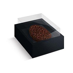 Caixa Ovo de Colher com Moldura Páscoa Preto - 10 unidades - Cromus Profissional - Rizzo Embalagens
