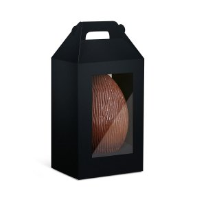 Caixa Maleta Ovo em Pé com 2 Visores Páscoa Preto - 10 unidades - Cromus Profissional - Rizzo Embalagens