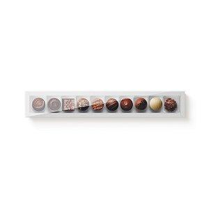 Caixa Retangular para 10 Doces Branco com Tampa Cristal - 10 unidades - 39x6x4cm - Cromus Profissional - Rizzo Embalagens