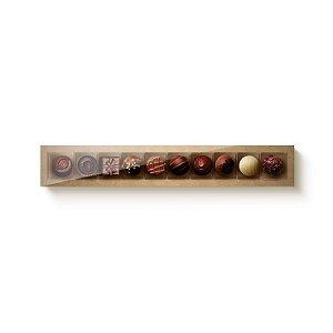 Caixa Retangular para 10 Doces Kraft com Tampa Cristal - 10 unidades - 39x6x4cm - Cromus Profissional - Rizzo Embalagens