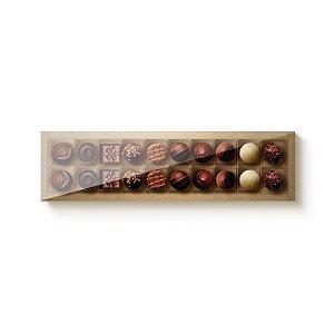 Caixa Retangular para 20 Doces Kraft com Tampa Cristal - 10 unidades - 39x9,5x4cm - Cromus Profissional - Rizzo Embalagens