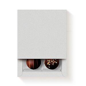 Caixa Quadrada para 4 Doces Branco com Luva - 10 unidades - 9,5x9,5x4cm - Cromus Profissional - Rizzo Embalagens