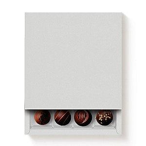 Caixa Quadrada para 16 Doces Branco com Luva - 10 unidades - 16,8x16,8x4cm - Cromus Profissional - Rizzo Embalagens