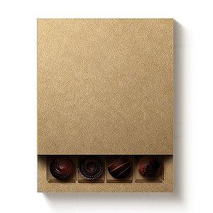 Caixa Quadrada para 16 Doces Kraft com Luva - 10 unidades - 16,8x16,8x4cm - Cromus Profissional - Rizzo Embalagens