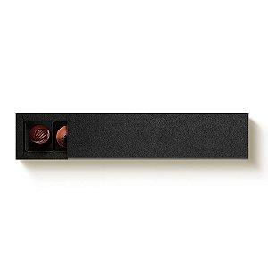 Caixa Retangular para 6 Doces Preto com Luva - 10 unidades - 24,2x6x4cm - Cromus Profissional - Rizzo Embalagens