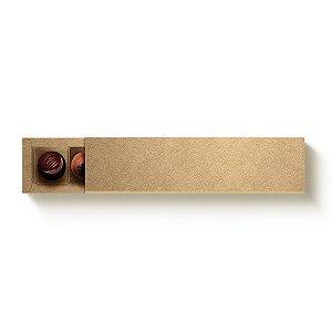 Caixa Retangular para 6 Doces Kraft com Luva - 10 unidades - 24,2x6x4cm - Cromus Profissional - Rizzo Embalagens