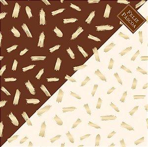 Saco Express 49x49cm para Ovos de 150g a 1kg - Pinceladas Marrom com Marfim - 05 unidades - Cromus Páscoa - Rizzo Embalagens