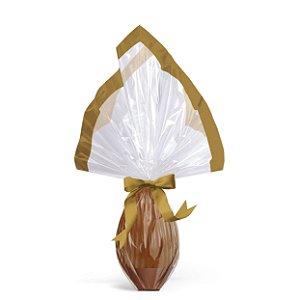 Saco Express Barrado Ouro para Ovos de 250g até 500g - 05 unidades - Cromus Páscoa - Rizzo Embalagens