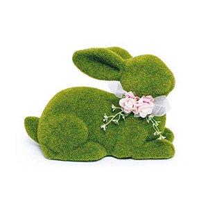 Coelho Deitado Verde Rústico Laço e Flor G - 20cm x 30m x 20cm - Linha Rústic - Cromus Páscoa Rizzo Embalagens