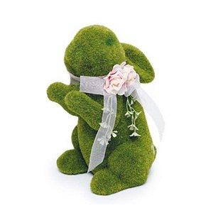 Coelho em Pé Verde Rústico Flor - 25cm x 15m x 20cm - Linha Rústic - Cromus Páscoa Rizzo Embalagens