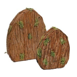 Enfeite Placa Ovo Madeira Musgo - Linha Rústic - Cromus Páscoa Rizzo Embalagens