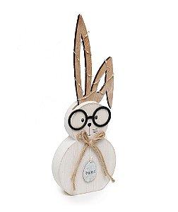 Coelho com Óculos e Led na Orelha em Madeira - G 30x10x3cm - Cromus Páscoa Rizzo Embalagens