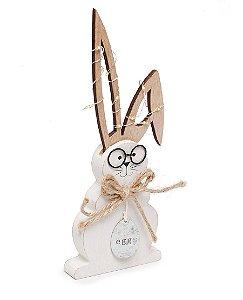 Coelho com Óculos e Led na Orelha em Madeira - P 23x9x2cm - Cromus Páscoa Rizzo Embalagens