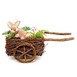 Carroça decorativa de Ratan c Coelho - 25cm x 35cm x 20cm - Cromus Páscoa - Rizzo Embalagens