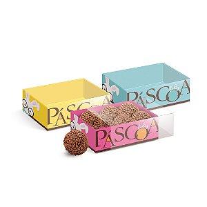 Caixa Luva Páscoa com Tampa de Acetato Páscoa Cores - 08 unidades - Cromus Páscoa - Rizzo Embalagens