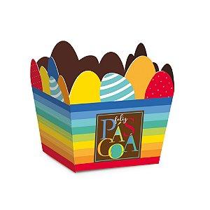 Cestinha de Páscoa Ovos Multicoloridos - 10 unidades - Cromus Páscoa - Rizzo Embalagens