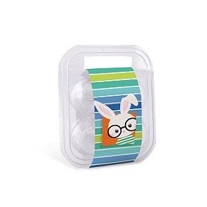 Maleta para 4 ovos com Cinta Páscoa Cores Azul 16,5x15x6,5cm - 10 unidades - Cromus Páscoa - Rizzo Embalagens