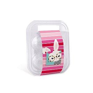 Maleta para 4 ovos com Cinta Páscoa Cores Rosa 16,5x15x6,5cm - 10 unidades - Cromus Páscoa - Rizzo Embalagens