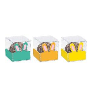 Caixa Clean 1 Doce com Forminha de Orelinha Coelhos Sortidos - 10 unidades - Cromus - Rizzo Embalagens