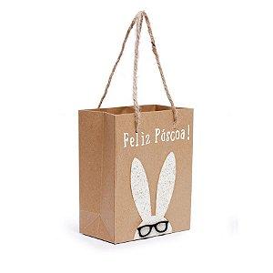 Sacola de Papel Decorada Coelho Glitter - Branco - 14,5x11,5x5,5cm - Cromus Páscoa - Rizzo Embalagens