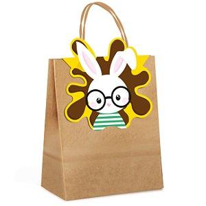 Sacola de Papel com Fechamento Play Amarelo - Cromus Páscoa - Rizzo Embalagens