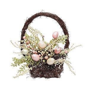 Cesta de Ovos de Páscoa - Decoração de Páscoa - 40cm x 30cm - Cromus Páscoa Rizzo Embalagens