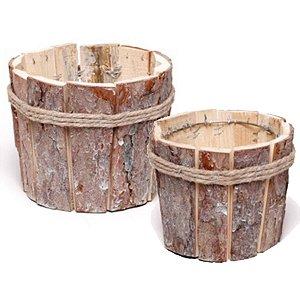 Cachepot de Madeira Rústica e Cordas - Linha Rústic - Cromus Páscoa- Rizzo Embalagens