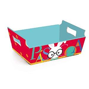 Cesta de Papel Cartão Páscoa Play - 01 unidade - Cromus Páscoa - Rizzo Embalagens