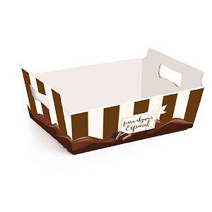Cesta de Papel Cartão Chocolate - 01 unidade - Cromus Páscoa - Rizzo Embalagens