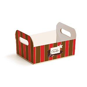 Caixote de Papel Cartão Chocolate Listras - Cromus Páscoa - Rizzo Embalagens